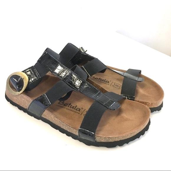 Birkenstock Betula Sandals Black Ankle Strap Croc